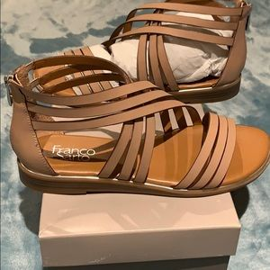 Nude sandals with silver detail